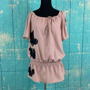 Guess Los Angeles Pale Pink Short Sleeves Blouse